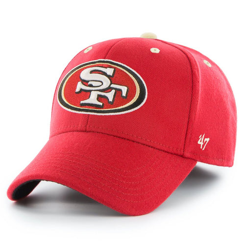 Embroidered on the front of the San Francisco 49ers stretch fit cap is the San Francisco 49ers logo in red, tan, white, and black