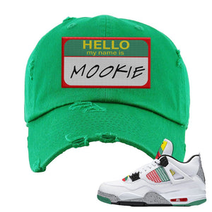 Jordan 4 WMNS Carnival Sneaker Kelly Distressed Dad Hat | Hat to match Do The Right Thing 4s | Hello My Name Is Mookie