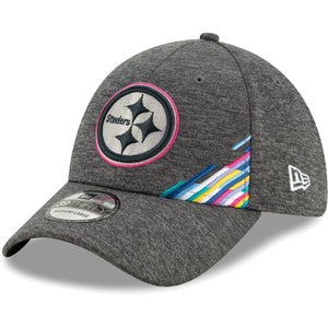 Embroidered on the front of the Pittsburgh Steelers 2019 Crucial Catch Sideline Flexfit Cap is the Steelers logo with a pink trim and multicolor ribbon