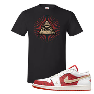 Air Jordan 1 Low Spades T Shirt | All Seeing Eye, Black