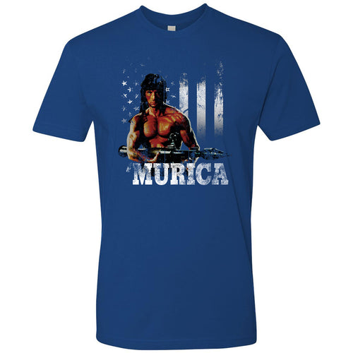 Standard Issue Distressed Rambo with American Flag Royal Blue Grunt Life T-Shirt