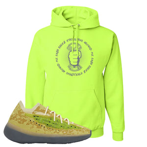 Yeezy Boost 380 Hylte Glow Hoodie | Cash Rules Everything Around Me, Safety Green