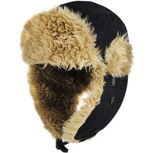 the exterior of this ushanka black canvas vegan fur trapper hat is made out of canvas