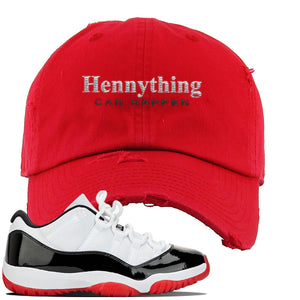 Jordan 11 Low White Black Red Sneaker Red Distressed Dad Hat | Hat to match Nike Air Jordan 11 Low White Black Red Shoes | HennyThing Is Possible