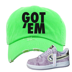 Air Force 1 P[her]spective Distressed Dad Hat | Neon Green, Got Em