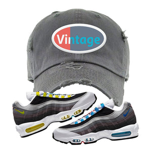 Air Max 95 QS Greedy Distressed Dad Hat | Dark Gray, Vintage Oval