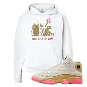 Army Rats White Pullover Hoodie to match Jordan 13 Chinese New Year Sneaker