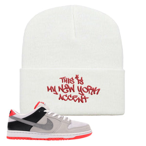 Nike SB Dunk Low Infrared Orange Label This Is My New York Accent White Beanie To Match Sneakers