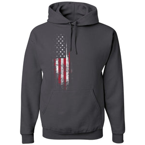 Standard Issue Distressed American Flag Banner Dark Gray Pullover Grunt Life Hoodie