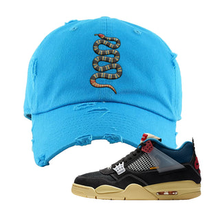Union LA x Air Jordan 4 Off Noir Distressed Dad Hat | Coiled Snake, Blue Aqua