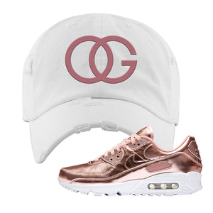 Air Max 90 WMNS 'Medal Pack' Rose Gold Sneaker White Distressed Hat | Hat to match Nike Air Max 90 WMNS 'Medal Pack' Rose Gold Shoes | OG