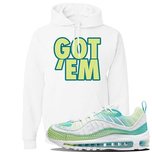 WMNS Air Max 98 Bubble Pack Sneaker White Pullover Hoodie | Hoodie to match Nike WMNS Air Max 98 Bubble Pack Shoes | Got Em