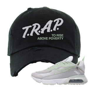 Air Max 2090 'Vast Gray' Distressed Dad Hat | Black, Trap To Rise Above Poverty