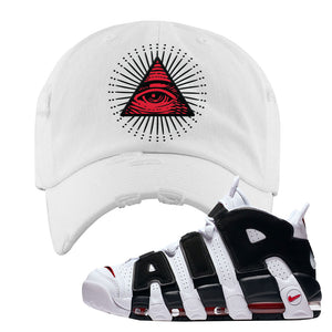 Air More Uptempo White Black Red Distressed Dad Hat | White, All Seeing Eye