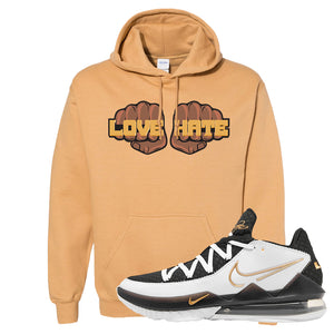 Lebron 17 Low White/Metallic Gold/Black Hoodie | Old Gold, Love Hate Fist
