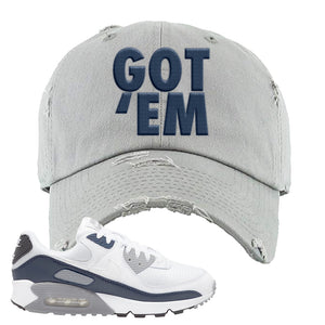 Air Max 90 White / Particle Grey / Obsidian Distressed Dad Hat | Light Gray, Got Em