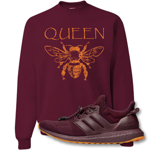 Queen Bee Maroon Crewneck Sweatshirt to match Ivy Park X Adidas Ultra Boost Sneaker