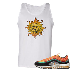 Printed on the front of the Air Max 97 Sunburst white sneaker matching tank top is the vintage lion head logo