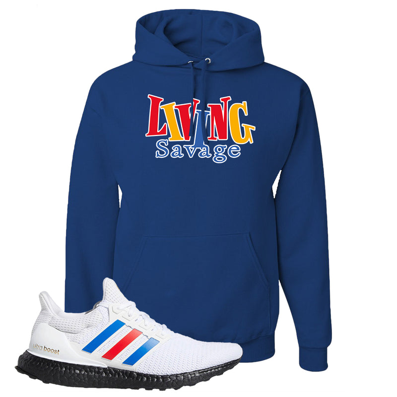 Ultra Boost White Red Blue Hoodie | Royal Blue, Living Savage