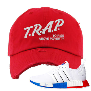 NMD R1 Seoul Distressed Dad Hat | Red, Trap To Rise Above Poverty