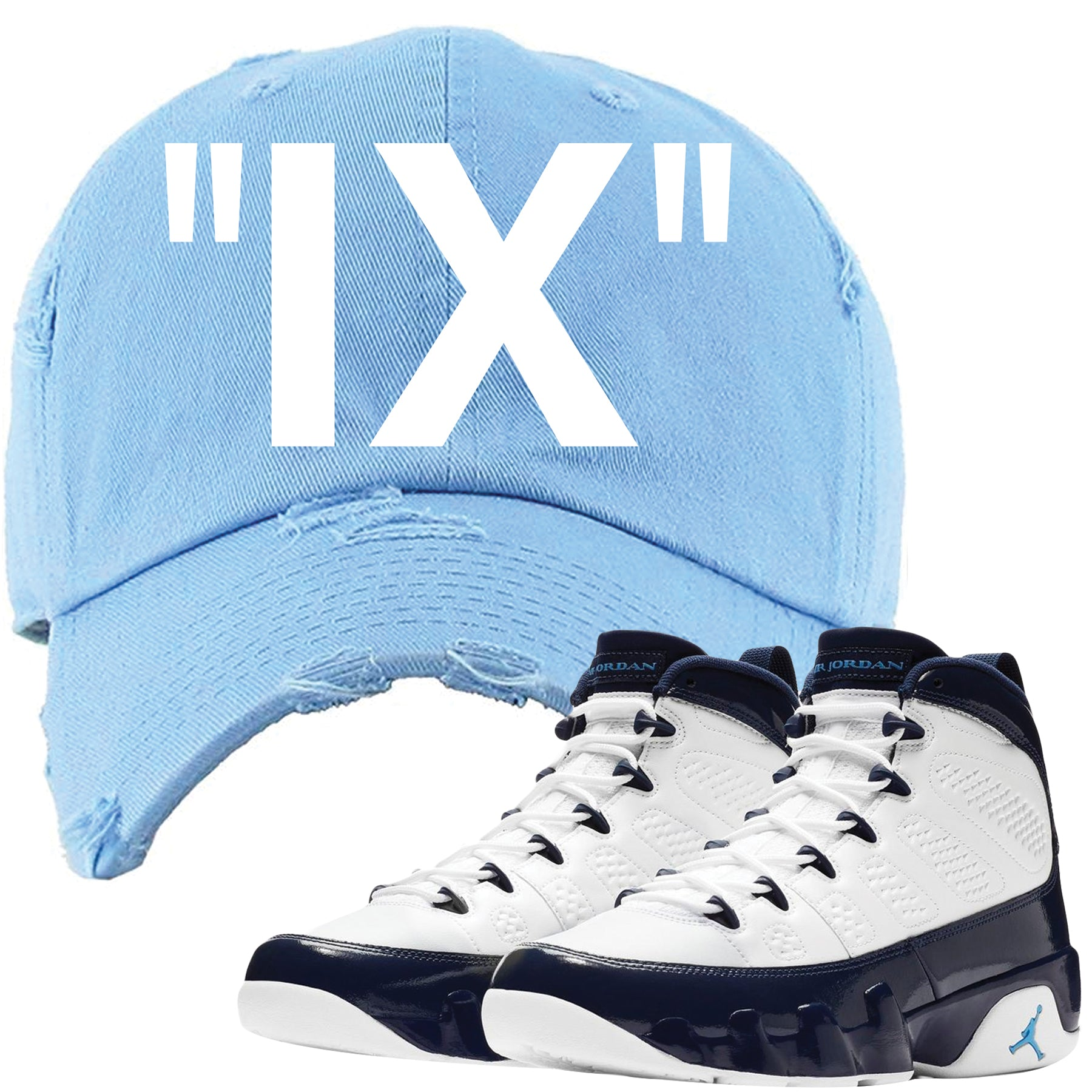 07900e0a9e7 Match your pair of Jordan 9 UNC Blue Pearl All Star sneakers with this Jordan  9