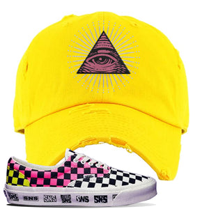 Vans Era Venice Beach Pack Distressed Dad Hat | Yellow, All Seeing Eye