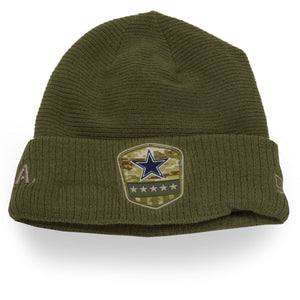 front of Cowboys military beanie | Dallas cowboys salute to service on field beanie | Military green