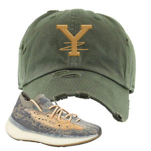 Yeezy Boost 380 Mist Sneaker Dark Gray Distressed Dad Hat | Hat to match Adidas Yeezy Boost 380 Mist Shoes | YZ