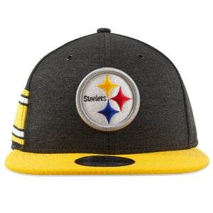 On the front of the Pittsburgh Steelers 9Fifty 2018 draft hat snapback is the Steelers logo