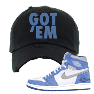 Air Jordan 1 High Hyper Royal Distressed Dad Hat | Got Em, Black