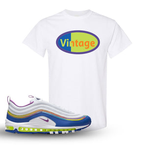 Air Max 97 'Easter' Sneaker White T Shirt | Tees to match Nike Air Max 97 'Easter' Shoes | Vintage Oval
