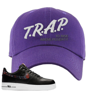 Air Force 1 Low Black Floral Dad Hat | Trap To Rise Above Poverty, Purple