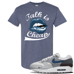 Air Max 1 'London City Pack' Sneaker Heather Navy T Shirt | Tees to match Nike Air Max 1 'London City Pack' Shoes | Talk is Cheap