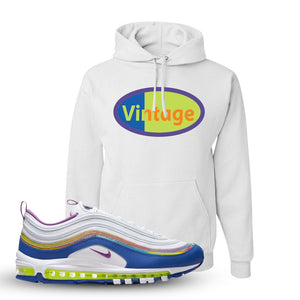 Air Max 97 'Easter' Sneaker White Pullover Hoodie | Hoodie to match Nike Air Max 97 'Easter' Shoes | Vintage Oval