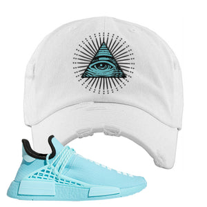 Pharell x NMD Hu Aqua Distressed Dad Hat | All Seeing Eye, White