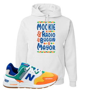 997S Multicolor Sneaker White Pullover Hoodie | Hoodie to match New Balance 997S Multicolor Shoes | Mookie and Gang