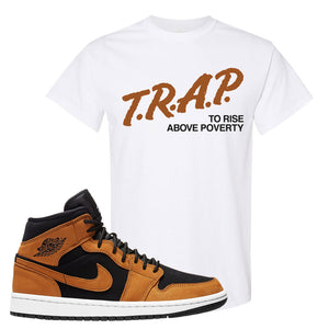 Air Jordan 1 Mid Wheat T Shirt | Trap To Rise Above Poverty, White