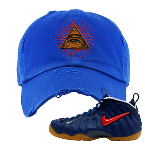 Air Foamposite Pro USA Distressed Dad Hat | Royal Blue, All Seeing Eye
