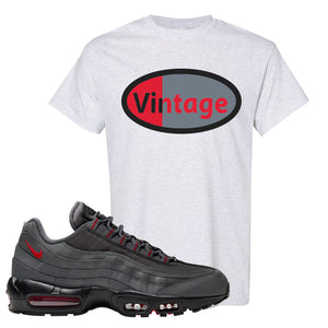 Air Max 95 Dark Gray and Red T Shirt | Vintage Oval, Ash