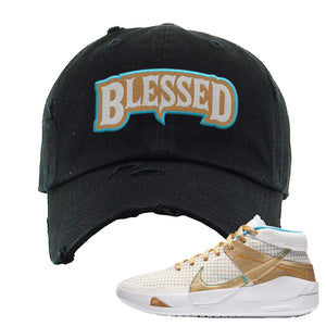 KD 13 EYBL Distressed Dad Hat | Blessed Arch, Black