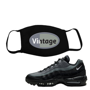 Air Max 95 Black Smoke Grey Face Mask | Vintage Oval, Black