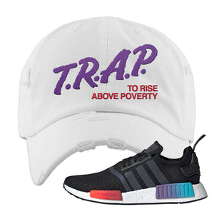 NMD R1 Gradient Distressed Dad Hat | White, Trap To Rise Above Poverty