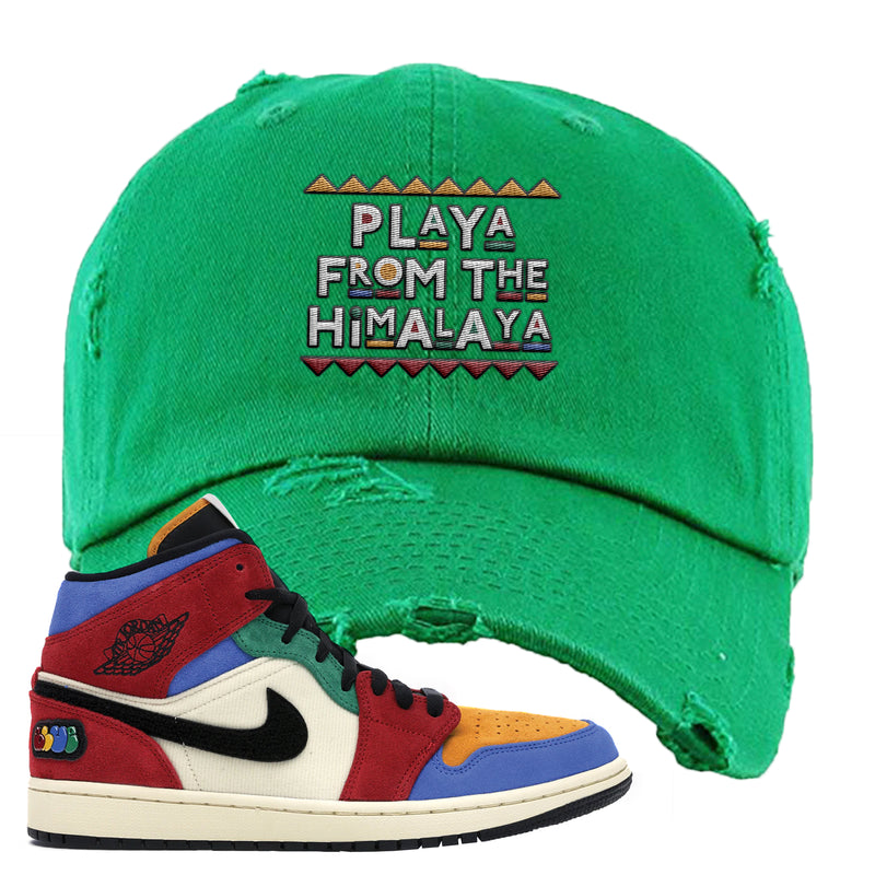 Jordan 1 X Blue The Great Distressed Dad Hat | Kelly Green, Playa From The Himalaya