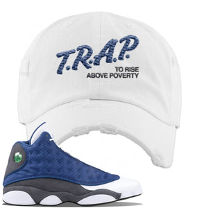 Jordan 13 Flint 2020 Sneaker White Distressed Dad Hat | Hat to match Nike Air Jordan 13 Flint 2020 Shoes | Trap To Rise
