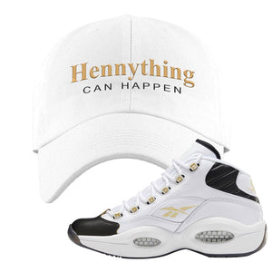 Reebok Question Mid Black Toe Dad Hat | White, Hennything Can Happen