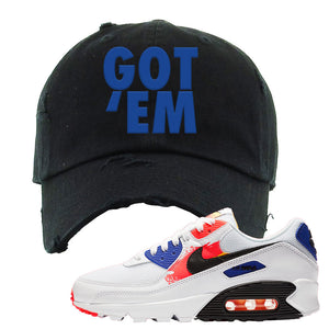 Air Max 90 Paint Streaks Distressed Dad Hat | Got Em, Black