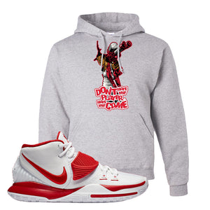 Kyrie 6 White University Red Hoodie | Don't Hate The Playa, Ash