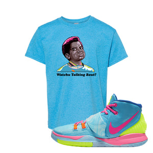 Kyrie 6 Pool Kids T-Shirt | Watchu Talking Bout, Heather Sapphire