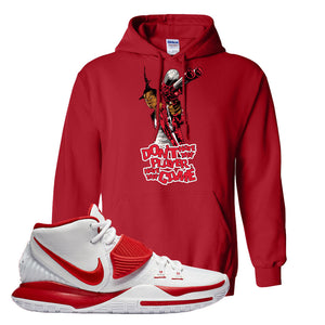 Kyrie 6 White University Red Hoodie | Don't Hate The Playa, Red