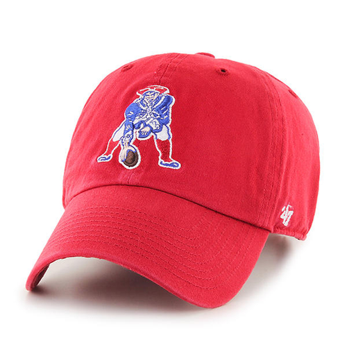 embroidered on the front of the throwback New England Patriots dad hat is the throwback Patriots logo embroidered in blue, white, and red